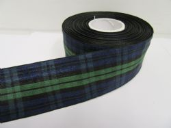 Black Watch Navy Tartan Ribbon 2 metres or 25 metres (Full Roll) double sided scotish 12mm, 16mm, 25mm & 38mm